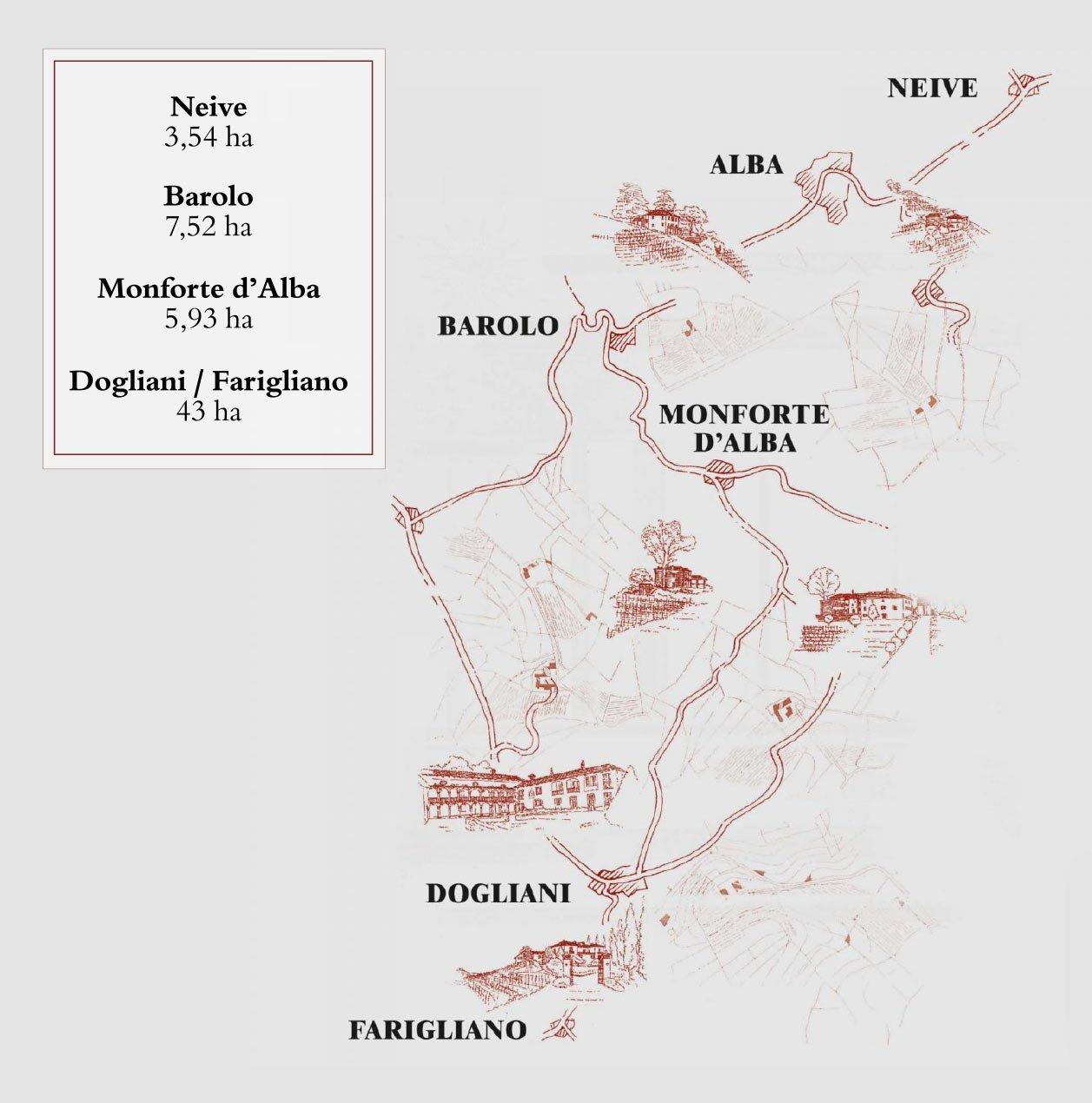 Mappa Vigneti Poderi Einaudi